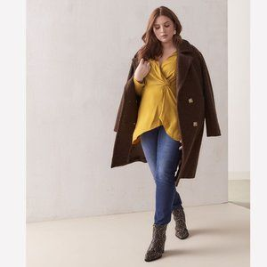Addition Elle Double Breasted Long Wool Pea Coat